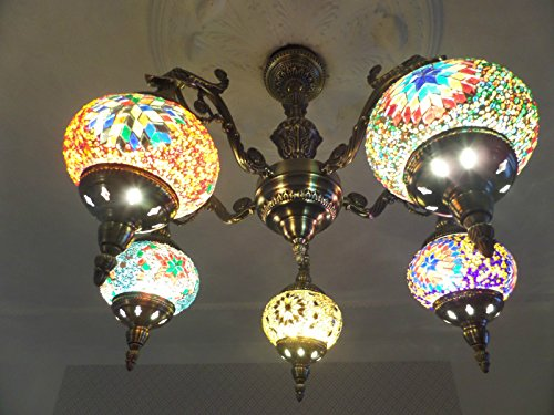 turkish-ceiling-light-5-hand-made-glass-mosaic-shades-with-bronze-arms