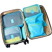 Shuzhen,6 Bolsas de Bolsas Bolsas de Viaje 6 Ahorro de Espacio, Incluidas Bolsas de Viaje de Tejido (Azul)(Color:Azul)