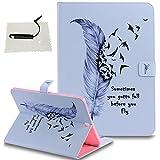 TOCASO Schutzhülle für Samsung Galaxy Tab S2 9.7 (T815) Hülle Leder Tasche Wallet Case Brieftasche Handyhülle Stand Ständer und Karte Halter Magnet -Feder Birdie
