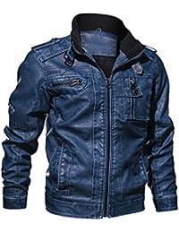 f9ca69220ed88 GOMY Mens Casual Pu Leather Jacket Splicing Neckline Biker Zipper Coat
