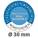 Avery Zweckform 6976 Prüfplaketten (80 Prüfaufkleber aus Vinyl, Geprüft nach DGUV Vorschrift 3, 2019-2024, Ø 30 mm, im praktischen Block) blau