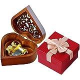 Boîte à musique, EN FORME DE Cœur vintage Wood sculpté Mécanisme à manivelle Boîte à musique, filles Cadeau pour Noël, Saint-Valentin, anniversaire,