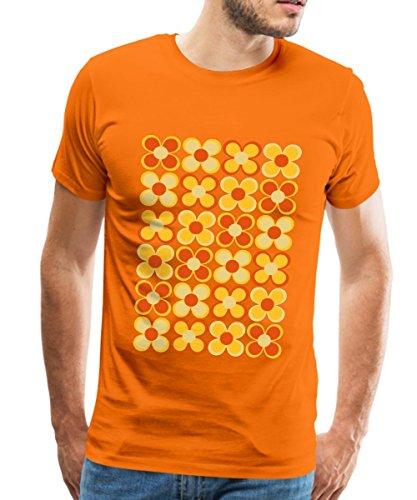 Spreadshirt 70er Jahre Blumen Männer Premium T-Shirt, 3XL, Orange (Jahre 70er Retro T-shirts)