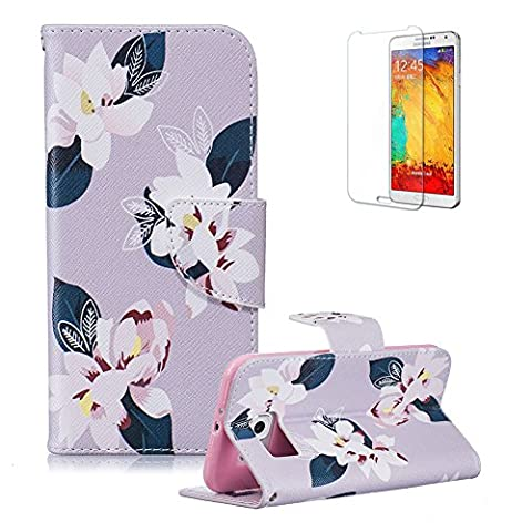 For Samsung Galaxy S6 Case [with Free Screen Protector], Funyye Good Quality Anti Dust Colourful PU Leather Magnetic Closure Wallet with [Credit Card Holder] Ultra Slim Fit Full Body Protection Flip Case Cover Skin for Samsung Galaxy S6 - Light Purple Base White Camellia