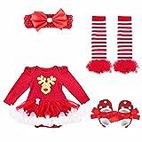 YiZYiF Neugeborenes Baby Mädchen Bekleidung Set Langarm Bodysuit Strampler mit Tütü Kleid Beinwärmer Schuhe Stirnband für Weihnachten Geschenk #1 Rentier 6-9 Monate