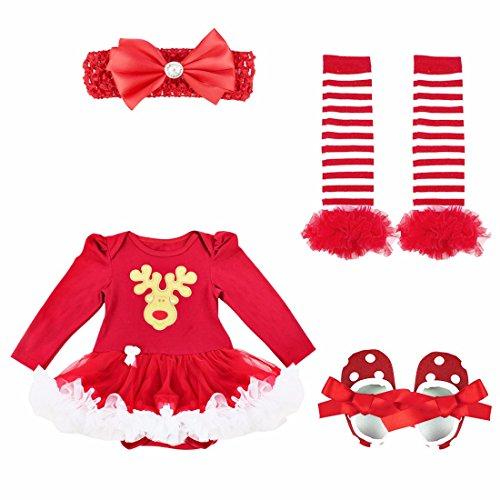 YiZYiF Neugeborenes Baby Mädchen Bekleidung Set Langarm Bodysuit Strampler mit Tütü Kleid Beinwärmer Schuhe Stirnband für Weihnachten Geschenk #1 Rentier 6-9 (Rentier Outfits Für Kleinkinder)