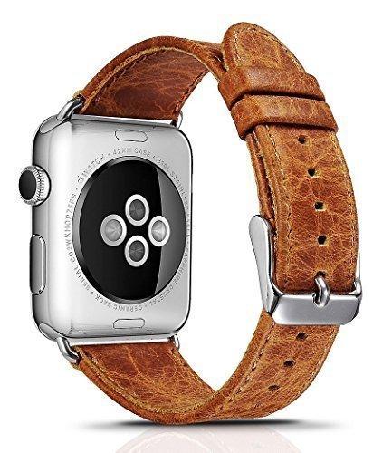 Apple Watch Armband Vintage Look Echtleder Gurt Armband Ersatz klassische Schnalle mit Metall Schließe für Apple iWatch und Sport & Edition