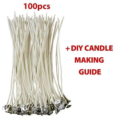 KERZENDOCHTE aus 100 % natürlichem BAUMWOLCKERN von CozYours mit Füßen für die Kerzenherstellung, 100 Stück, 150mm , geringe Rauchentwicklung (Soja-wachs Votive)