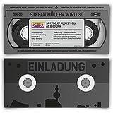 Einladungen im Videokassette VHS Motiv (40 Stück) – Vintage Geburtstag Einladungskarten