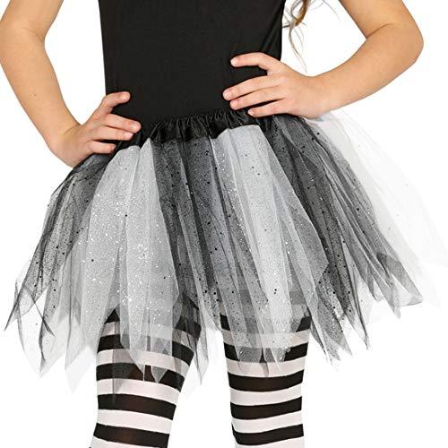 Amakando Universell einsetzbarer Tüllrock für Mädchen / ca. 30 cm lang in schwarz-weiß / Niedlicher Ballettrock kleine Tänzerin / EIN Blickfang zu Kinder-Fasching & - Niedliche Kleine Mädchen Hexe Kostüm