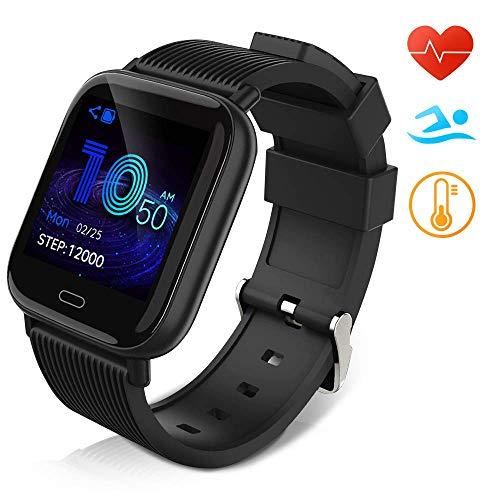 Huyeta Smartwatch Orologio Fitness Uomo Donna Pressione sanguigna Impermeabile IP67 Smart Watch Cardiofrequenzimetro da Polso Contapassi Smartband Activity Tracker Bambini Cronometro (black1)