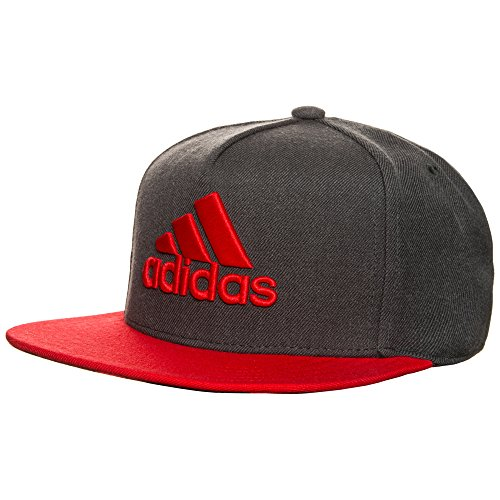 adidas Herren X Flat Mütze, Dark Grey Heather/Red/Dark Grey, OSFM