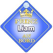 Pr/äsentieren Kind Geschenk Prinz Emilio An Bord mit Krone Personalisierte Autokennzeichen Neues Baby Junge Autoschild /… Baby on Board