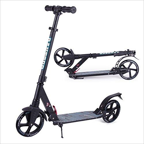 Baytter faltbar Kinderscooter Cityroller Roller aus Aluminium für Kinder ab 8 Jahre und Erwachsene, Lenker in der Höhe verstellbar, Scooter big wheel(Muster2/Schwarz)