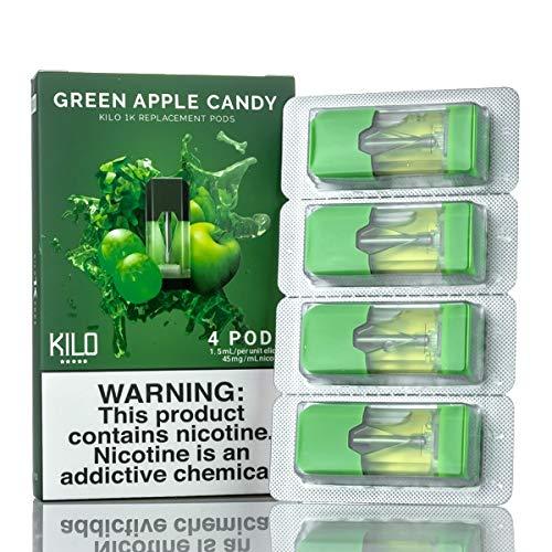 Preisvergleich Produktbild Original Neue Kilo Hülsen Pods for Kilo 1K Ultra tragbares System Starter Kit (Packung mit 4 Stück) (Green Apple Candy)