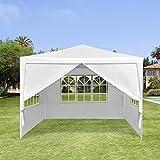 LANGRIA Festzelt 3 x 3 m, 9kg, Hochwertiges Partyzelt mit 4 abnehmbare Seitenwände und 3 Fenster weiß