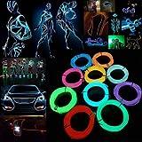 EL Wire Neon RGB-Farblicht Led Strichmännchen-Set, kleines Strichmännchen-Kostüm-Set-Ohne...