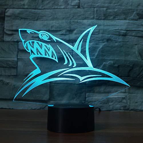 3D Nachtlicht Led Farbwechsel Licht Auf Dem Wasser 7 Tier Shark Head Farbe Illusion Schlafzimmer Kindergeburtstagsgeschenk Nachttischdekoration Ändern - Shark Wasser
