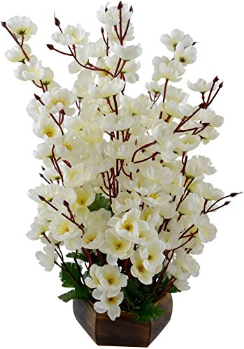 Bageecha Garden's Artificial Blossom Flower with Wooden Vase(10 inchs/ 25 cms) For Indoor And Outdoor Decoration Of Your Office and Home (White)