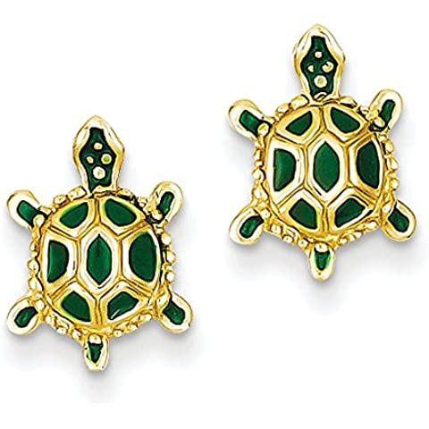 Oro 14K Verde Smaltato Turtle post orecchini–Misure