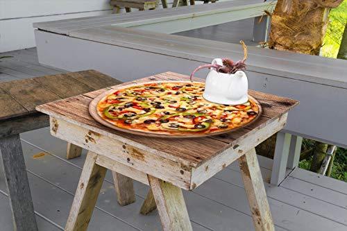 Wallario Aufkleber Selbstklebende Garten-Tisch-Decke - Italienische Pizza mit Peperoni, Oliven. Paprika und Käse in 60 x 60 cm
