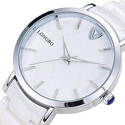 LONGBO Womens Luxury Ceramic Band Business Bangle Watch Silver Case Bracelet Wrist Dress Watches Fashion Waterproof Lady Analog Quartz Luminous Hand Big Face Watches