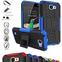 LG K4 / Optimus Zone 3 / LG Spree Funda,Mama Mouth Heavy Duty silicona híbrida con soporte Cáscara de Cubierta Protectora de Doble Capa Funda Caso para LG K4/Optimus Zone 3/LG Spree 2016 Smartphone,Azul