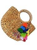 CL Frauen Aus Rattan Stroh Tasche Mode Umhängetasche Nationalen Wind Reisen Memorial Diagonal Paket Handtasche Brieftasche (Color 12)