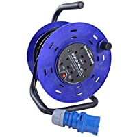 25m Extension Cable Reel 240V with 16 AMP Plug Input to 4 Gang UK Mains Socket Extension Lead 16A to 13A