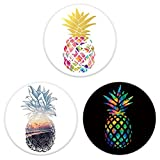 RoGill Three Pack Sunset Tropical Pineapple Pop Out Phone Grip Mount Socket Cell Phone Stand Expanding Stand and Grip for Smartphone and Tablet