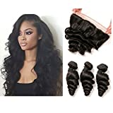 DAIMER Brazilian Loose Wave Weave 3 Bündel Haare Und Closure Ear To Ear Lace Frontal Free Part Bleached Knots Human Haare Echthaar Extensions Natural Locken Wellig Tressen 12 14 16 +10 Frontal