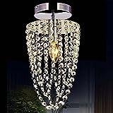 KAWELL Moderno Luz de Techo de Cristal K9 Lámpara Araña de Techo Cromo Acero Inoxidable Soporte de...
