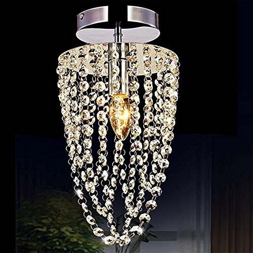 Kawell moderno lampadario di cristallo plafoniera luce soffitto lampada da soffitto cristallo k9 cromo acciaio inox per camera da letto, sala, soggiorno, corridoio(altezza 35cm,diametro 17cm)