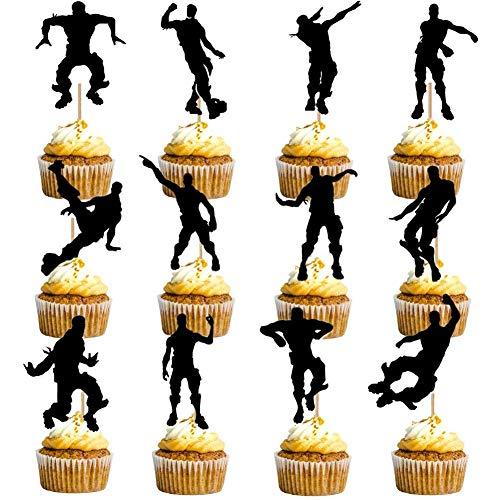 HASAKA 24 St¨¹cke Dance Floss Cupcake Toppers (12 Arten) Spiel Thema Party Supplies Alles Gute zum Geburtstag Kuchen Dekoration