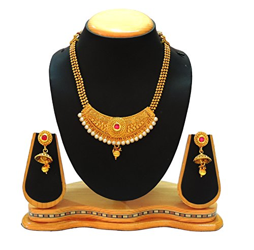 Artificial Pink Stone and White Pearl Necklace Set for Women jewellery
