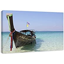 Tailandia Barco Playa Cuadro En Lienzo Enmarcado y Listo Para Colgar