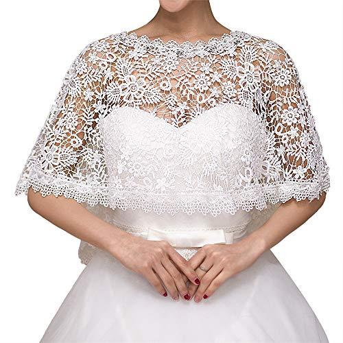 Mantella da cerimonia nuziale da donna lo scialle del capo del pizzo degli scialli nuziali dello scialle nuziale nuziale bianco d'avorio dell'estate e della sposa per la festa nuziale per la decorazio