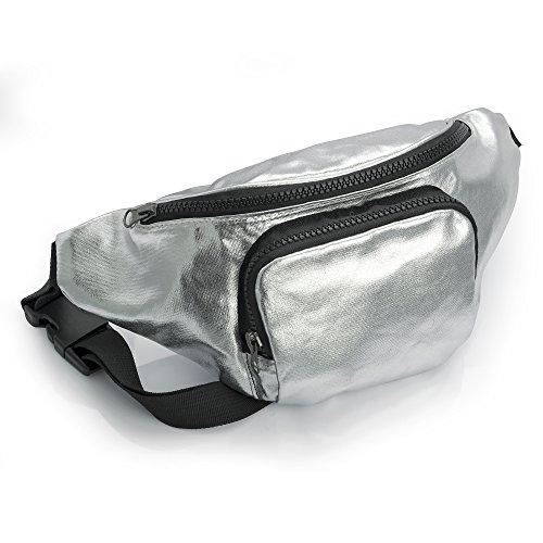 bum-bag-fanny-pack-festival-money-waist-pouch-travel-canvas-belt-grunge-neon-metallic-silver