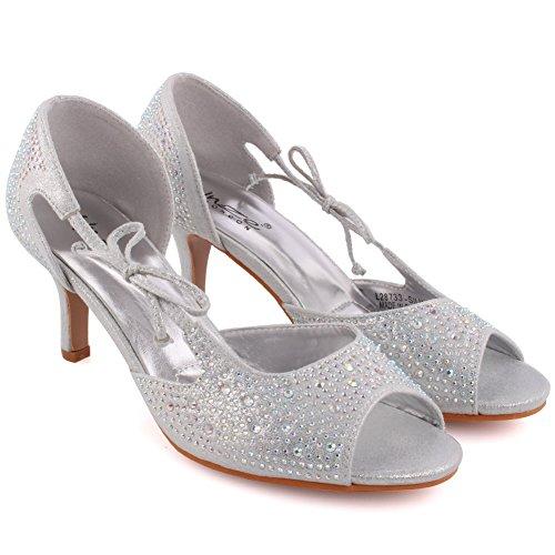 Unze Frauen 'Blac' Diamante verschönert Peep-Toe High Stilettabsatz Abendgesellschaft Karneval Holen Sie sich Brunch Hochzeit Ferse Sandalen Court Schuhe Größe 3-8 - T33A-5 Silber