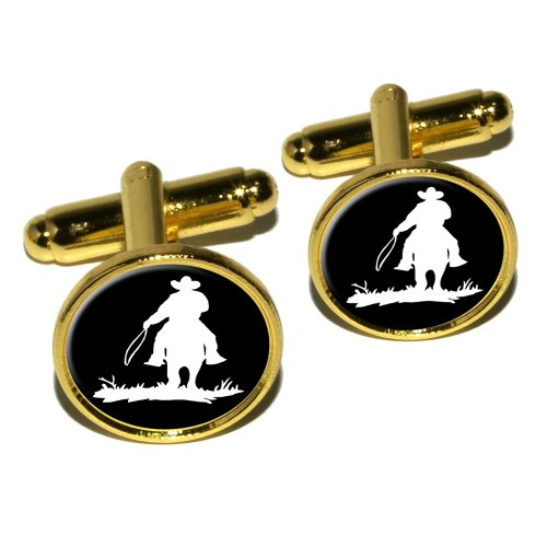 Graphics and More Cowboy–Rancher–Lasso Runde Manschettenknopf Set–Gold Cowboy-krawatte-verschluss
