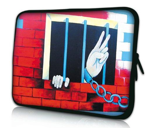 "Luxburg® Design Laptoptasche Notebooktasche Sleeve für 15,6 Zoll, Motiv: ""Peace"" hinter Gittern Laptoptasche 15 Zoll"