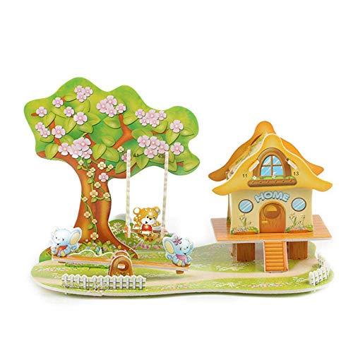 (Ears 3D Haus Kinder Geschenk 5D Paper Board Puzzle Früherziehung Bau Montieren Spielzeug Kinder Geschenk)