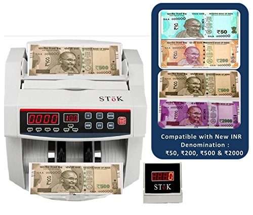 StoK ST-MC01 Compatible New INR Rs.50, Rs.200, Rs.500 & Rs.2000 Notes Counting Machine with Fake Note Detector