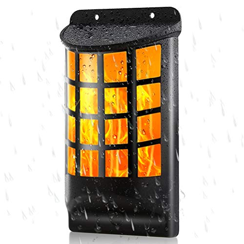 Draussen Solar Wandleuchten, Wasserdicht Tanzen Flackernde Flammen Licht mit 66 LED, Automatisch An/Aus, Solarbetrieben Gartenleuchten, Hof, Zaun, Garage, Patio Dekoration - Flackernde Flamme-licht