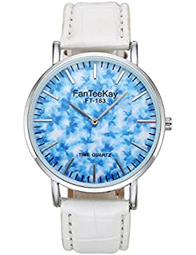 JSDDE Uhren,Fashion Blau Muster Armbanduhr Casual Unisex Uhr PU Lederarmband Analog Quarzuhr,Rot