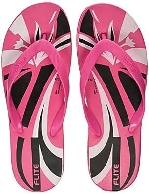 FLITE Women's Pink Black Slippers - 6 UK/India (39.33 EU)(FLA174L)