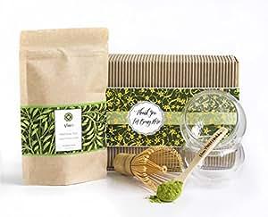 Tè verde Matcha Amazing Gift Artisan set–eco cestino scatola con 50g di tè, frusta, cucchiaio e 2tazze Japanese Summer 50g Set 3 deep green
