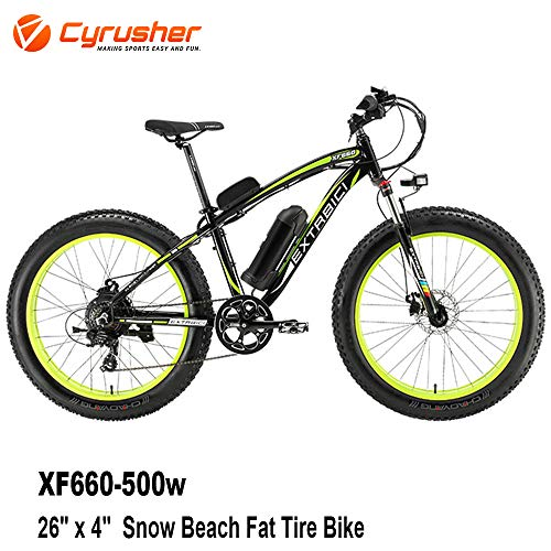 Cyrusher® Extrbici XF660 48V 500 Watt Schwarz Grün Mans Elektro Fahrrad Mountain Bike 7 Geschwindigkeiten Elektro Fahrrad Scheibenbremsen