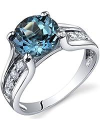 Revoni Bague Femme Solitaire - Argent Fin 925/1000 - Oxyde de Zirconium - London Topaze Bleue 2.25 ct