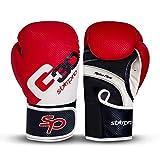 Boxing Gloves for Men & Women - Muay Thai Punching Bag Training Sparring Kickboxing Sandbag Maya Hide Boxing Gloves for Adults & Kids (Red/White, 10oz)